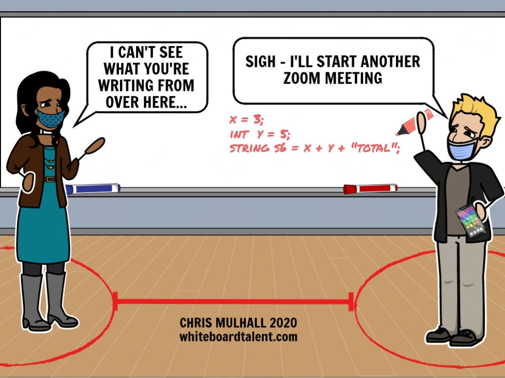 Two employees standing 6 feet apart in an office at a whiteboard. They can't see what each other is writing on the board.