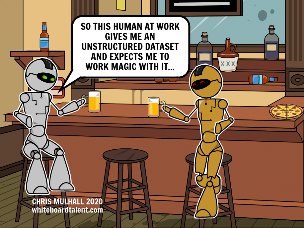 Two robots are drinking a bar and complaining about the humans that program them