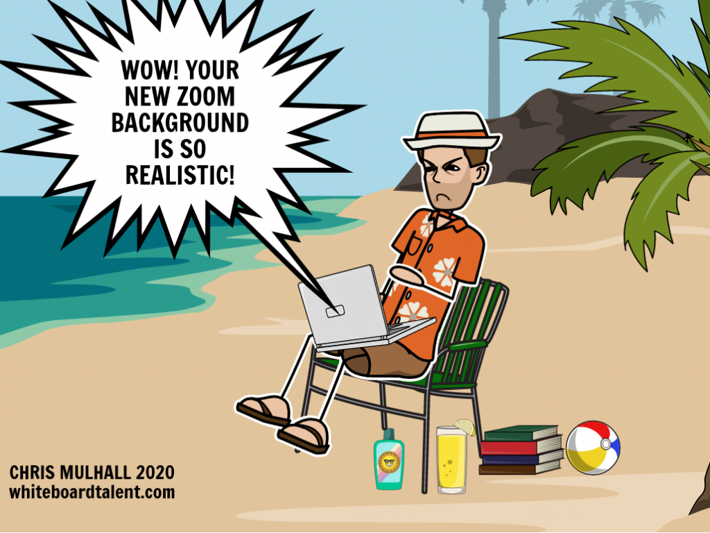 A man is sitting on the beach taking a zoom call. The participants think his tropical beach background is just a zoom background image